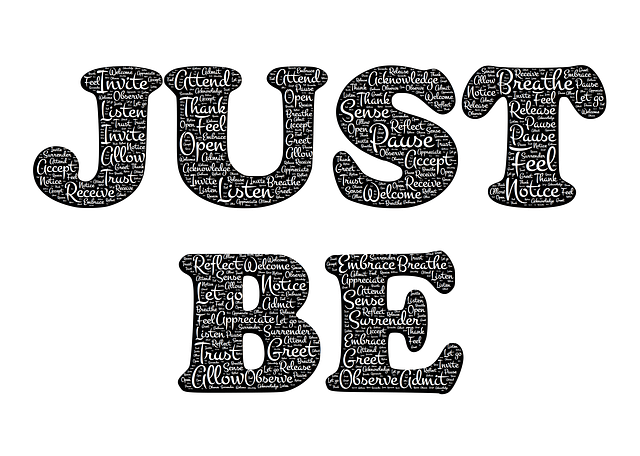 graphic letters saying just be. the end of the futility gods