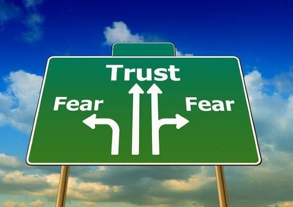directional sign for trust or fear. performance based believers worship futility due to fear  ty