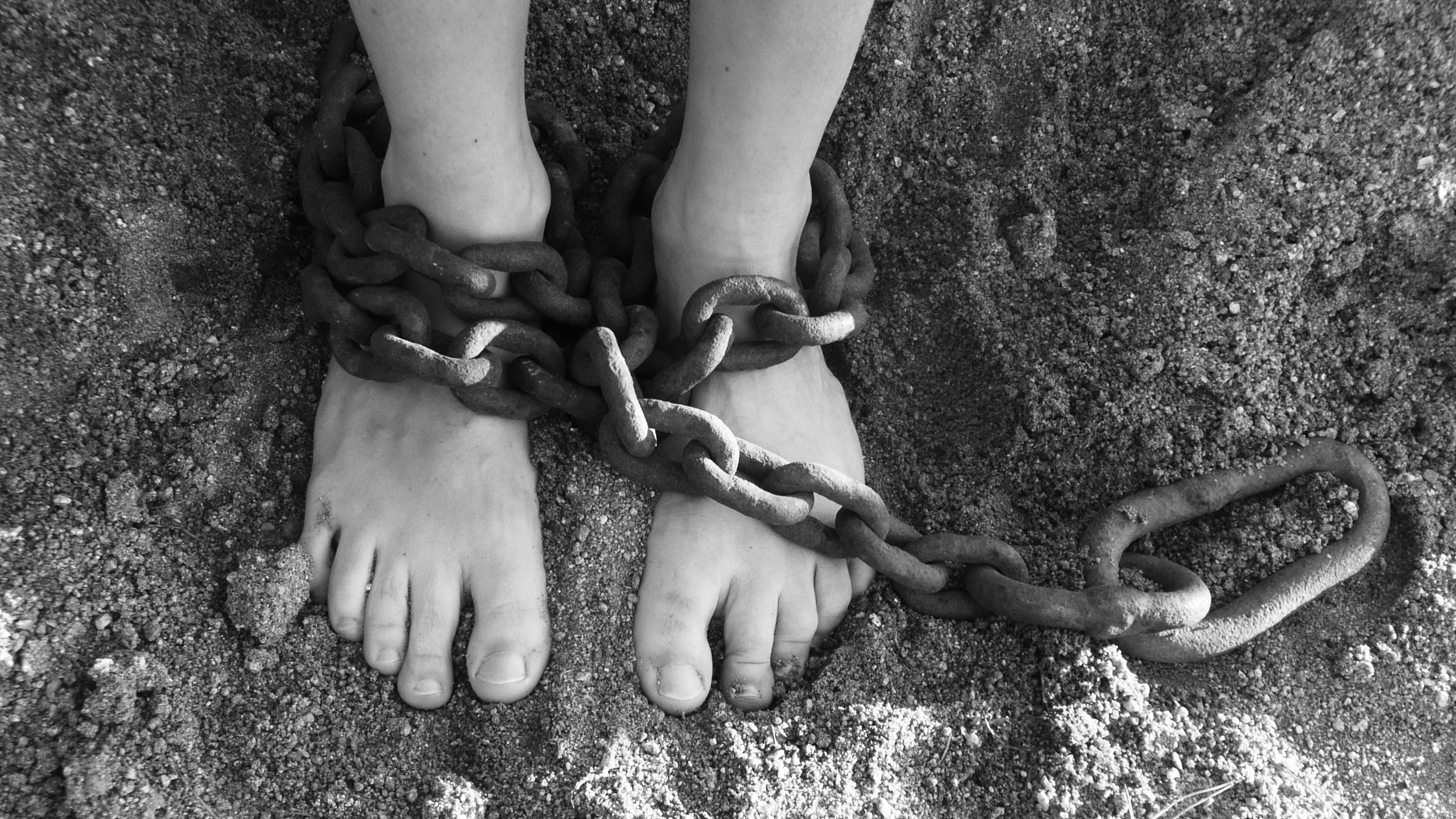 feet in slave chains