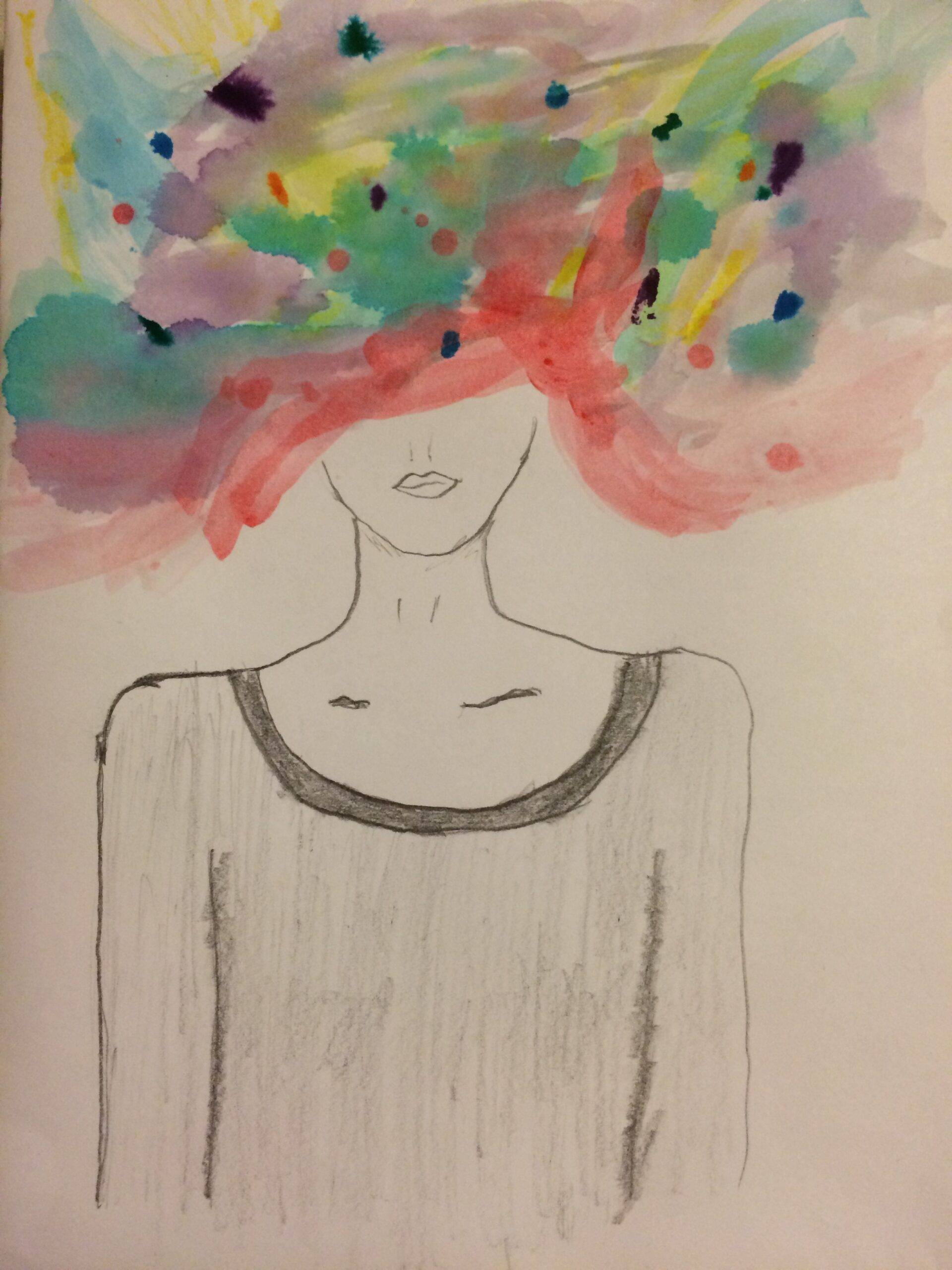 Chaos-a woman with swirling colors for a head.