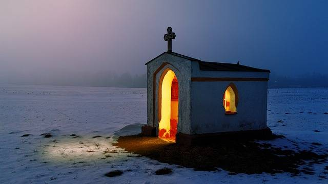 tiny church in very large snowy field-I was a sanctuary for them