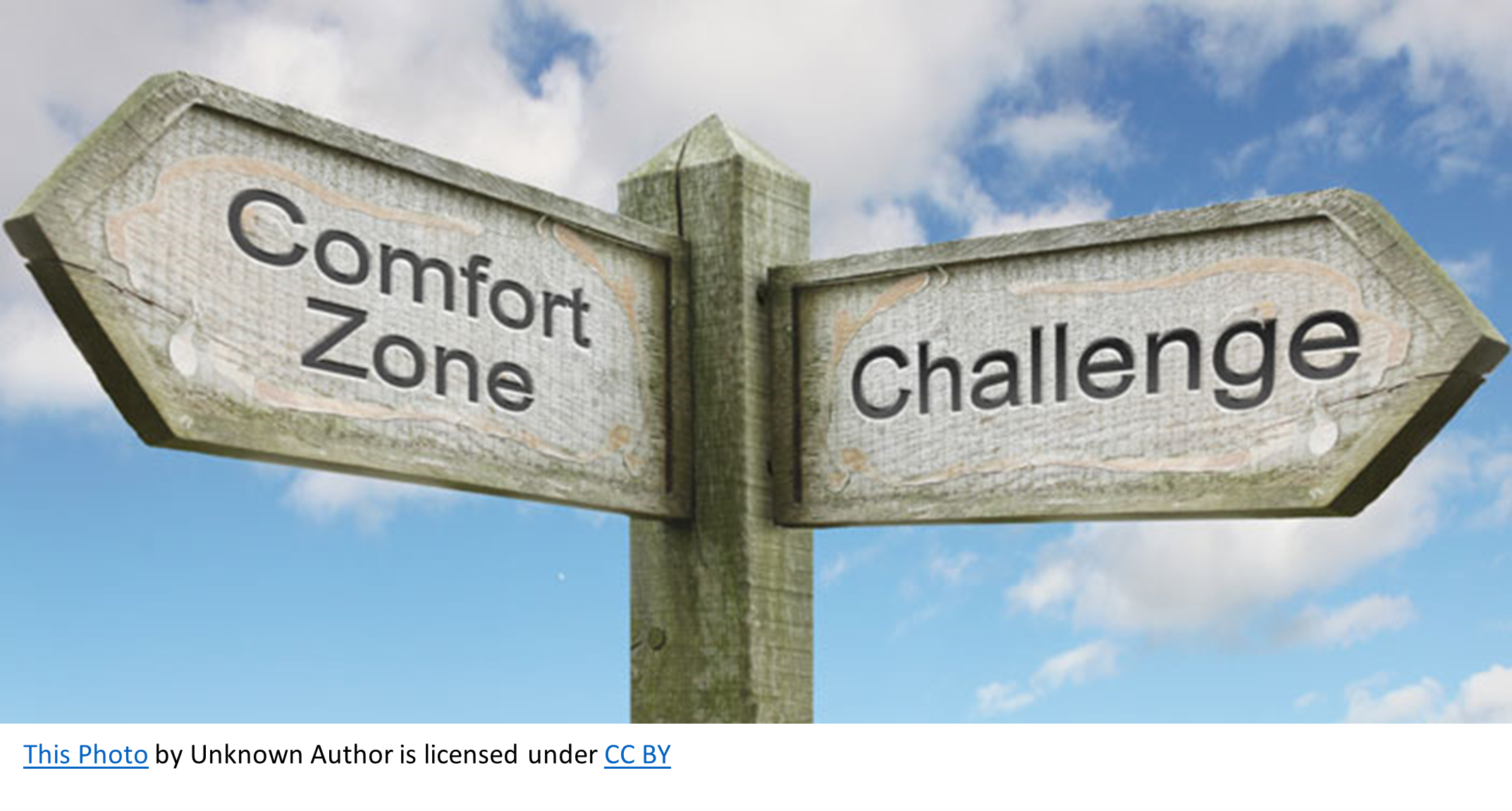 A sign with a choice to go toward comfort or challenge. What is God Doing??